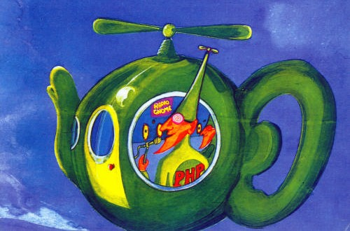 A picture of a flying teapot, piloted by a Pothead Pixie