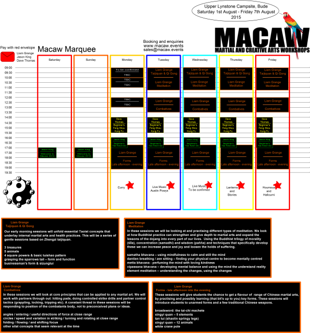 MacawMarquee 2015 Timetable